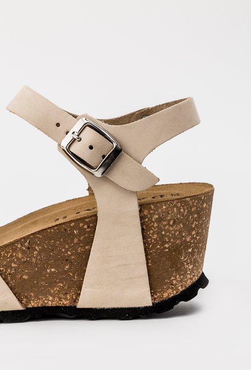 Sandale bej din piele naturala cu platforma Rova
