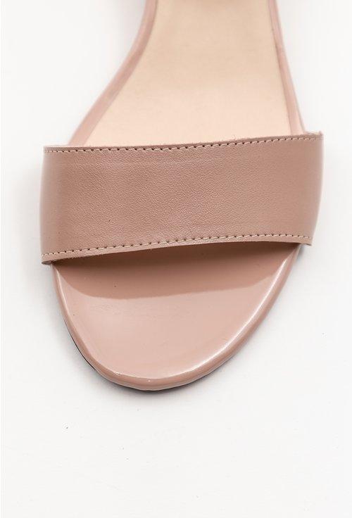 Sandale bej din piele naturala cu toc mic