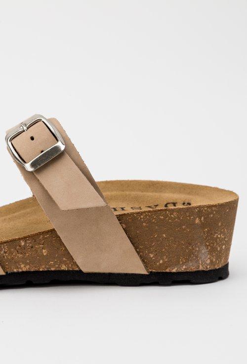 Sandale bej din piele naturala intoarsa Lizzie