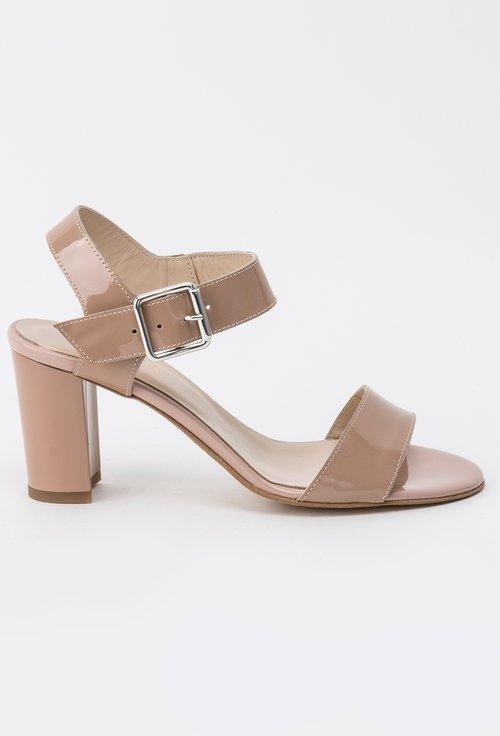 Sandale bej din piele naturala lacuita Denise