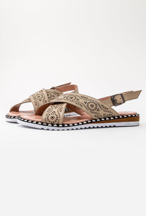Sandale bej din piele naturala perforata Morena