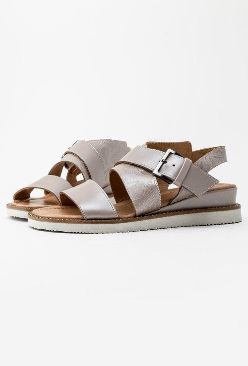 Sandale bej sidefat din piele naturala Mona