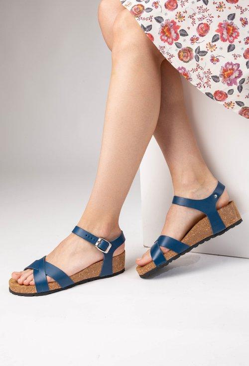 Sandale bleumarin din piele naturala Danielle
