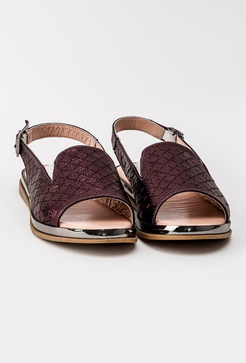 Sandale bordo metalizat din piele naturala Kyle