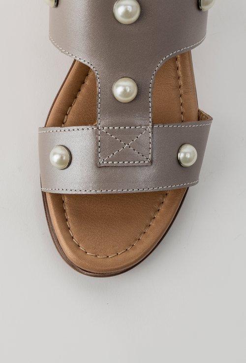 Sandale casual grej din piele naturala Perla