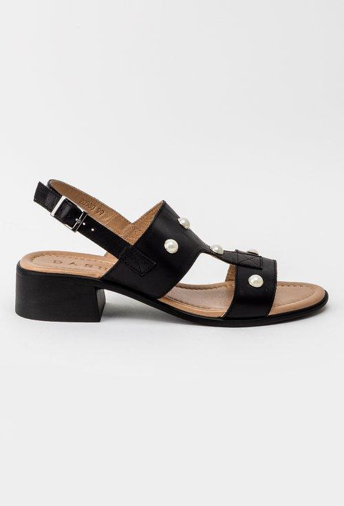 Sandale casual negre din piele naturala Perla