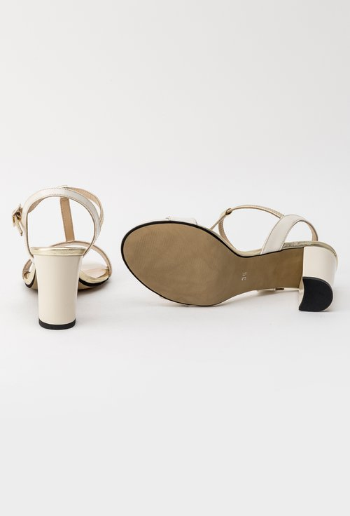 Sandale crem cu auriu din piele naturala Ruben