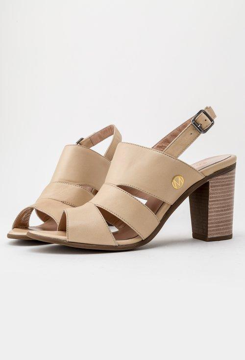 Sandale crem cu toc din piele naturala Irina