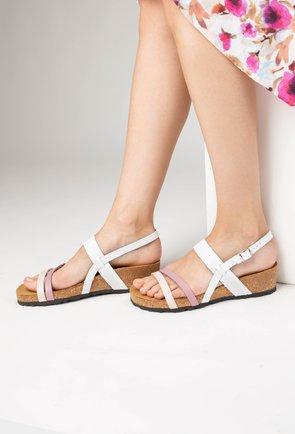 Sandale cu barete din piele naturala Arleen