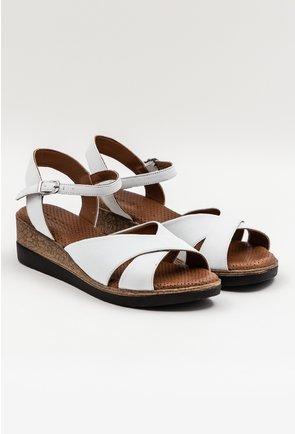 Sandale cu platforma albe din piele naturala Iasmi