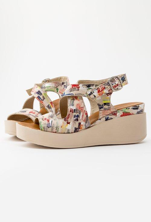 Sandale cu platforma cu design colorat din piele naturala Ely