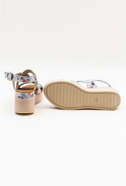 Sandale cu talpa ortopedica cu design colorat din piele naturala