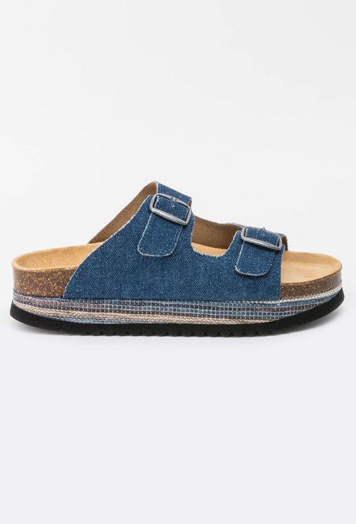 Sandale din piele naturala cu denim Azaleea