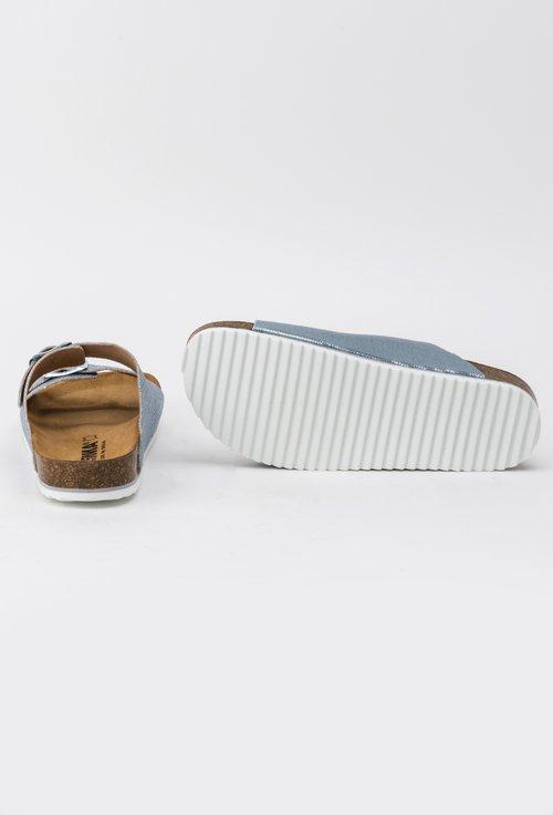 Sandale din piele naturala cu paiete bleu Eloise