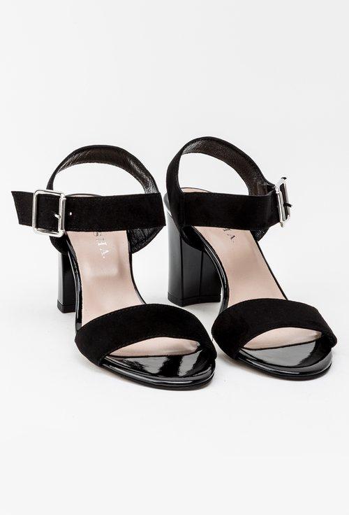 Sandale negre din piele naturala Kym