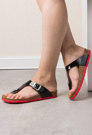 Sandale din piele naturala negru cu rosu Casiana