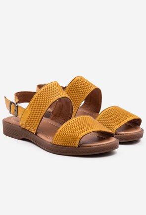 Sandale din piele naturala nuanta galben mustar