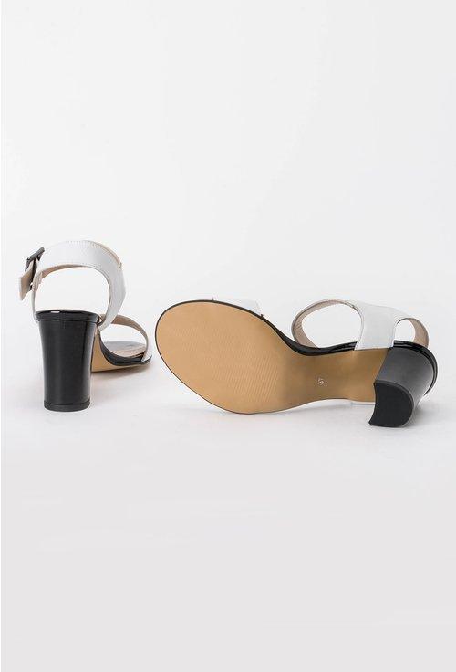 Sandale alb cu negru din piele naturala Sebastiana