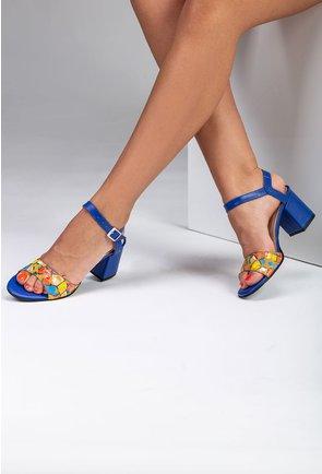 Sandale din piele nuanta albastru electric cu imprimeu