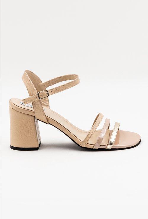 Sandale elegante din piele naturala nude cu barete subtiri