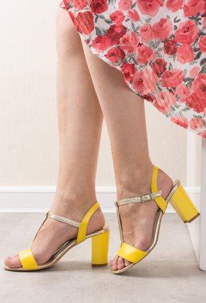 Sandale galben cu auriu din piele naturala Nayeli