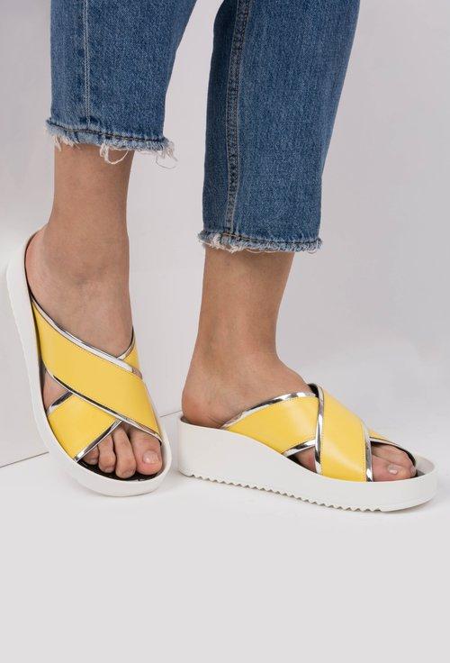 Sandale galbene cu argintiu din piele naturala Sheila