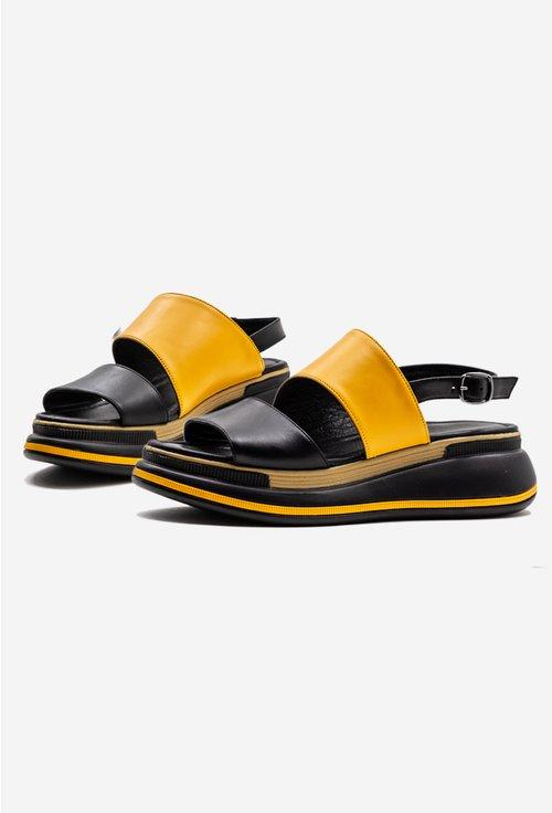 Sandale galbene din piele cu talpic buretat