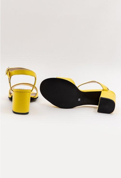 Sandale galbene din piele naturala