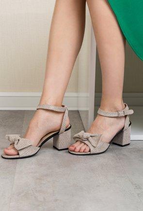 Sandale grej cu picatele din piele naturala intoarsa Stacy