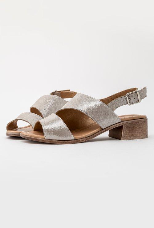 Sandale grej din piele naturala cu inseratii sclipitoare Betty