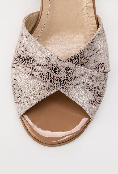 Sandale grej din piele naturala intoarsa Miky