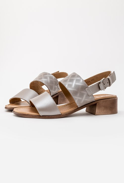 Sandale grej sidefat din piele naturala Dorothy