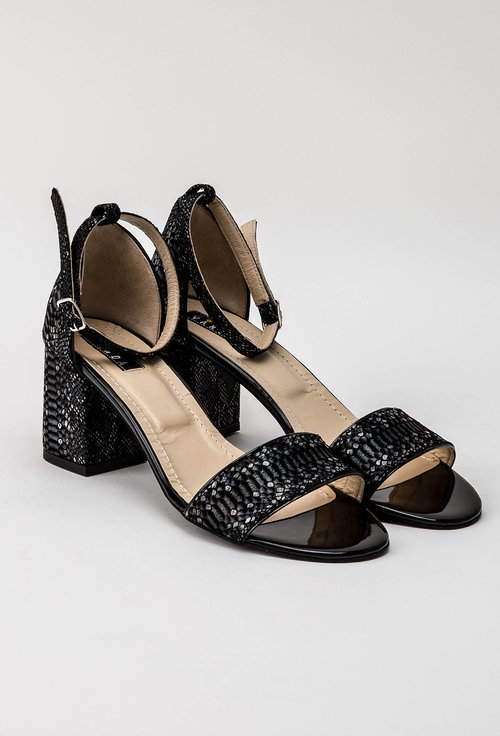 Sandale gri din piele naturala cu imprimeu tip piele de sarpe Kim