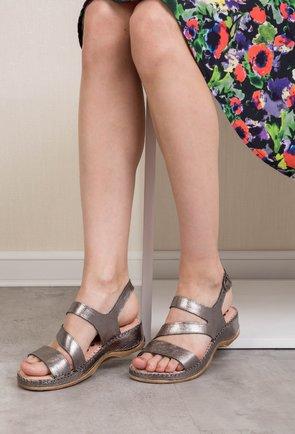 Sandale gri metalizat din piele naturala Abrienda