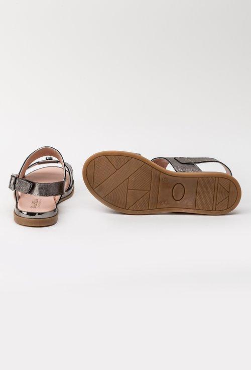 Sandale gri metalizat din piele naturala Lucky