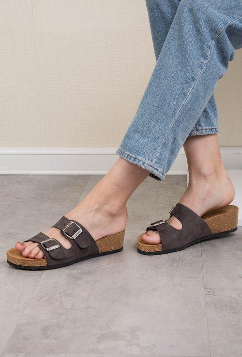 Sandale gri petrol din piele naturala Noah