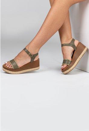 Sandale kaki din piele naturala cu platforma