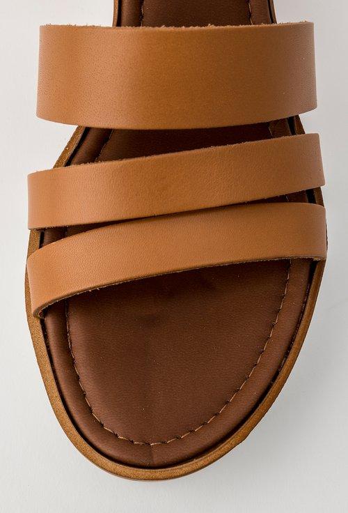 Sandale maro-aluna din piele naturala Lorys