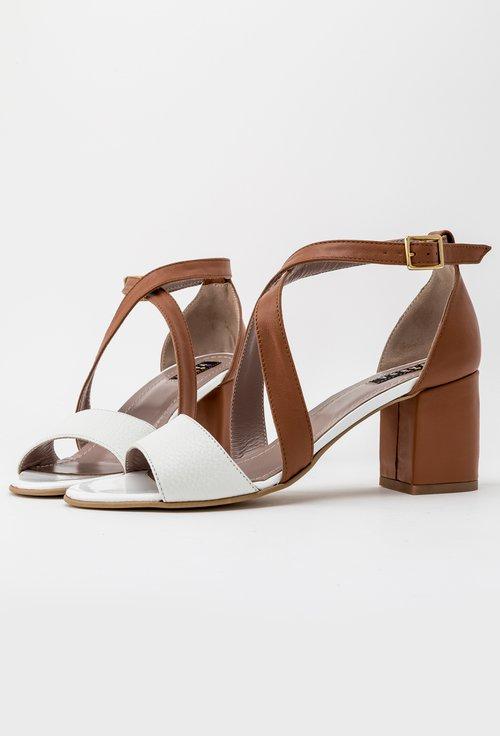 Sandale maro cu alb din piele naturala Casy