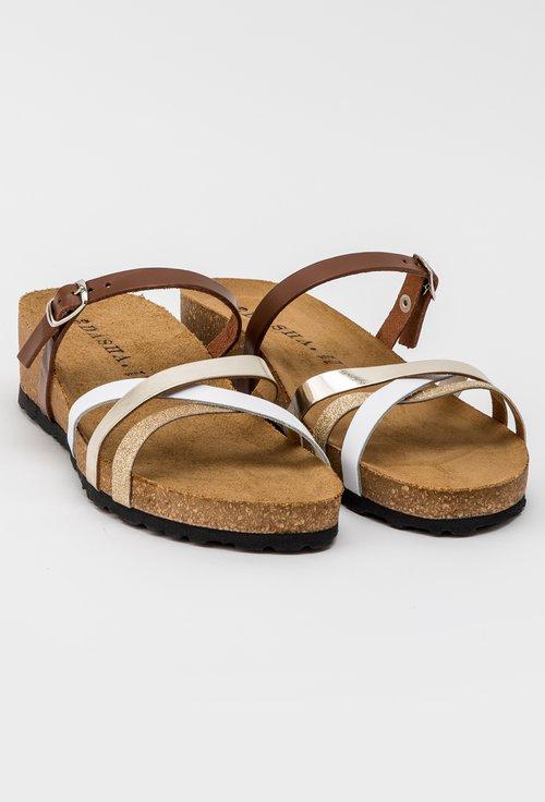 Sandale maro cu auriu din piele naturala Mathew