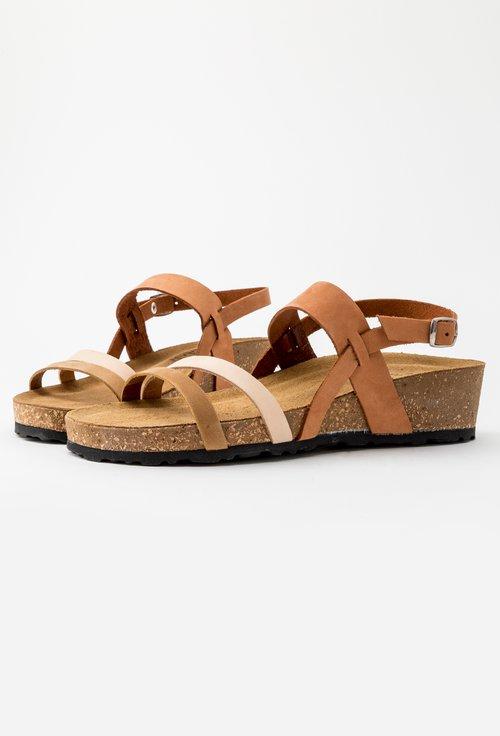Sandale maro din piele naturala Arleen