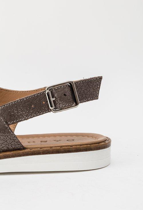 Sandale maro din piele naturala cu insertii sclipitoare Beatrice