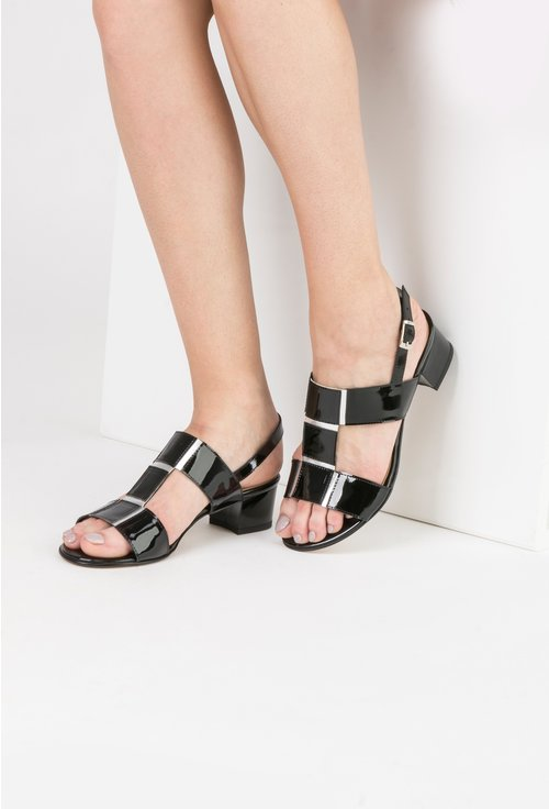 Sandale negre cu argintiu din piele naturala Silvia