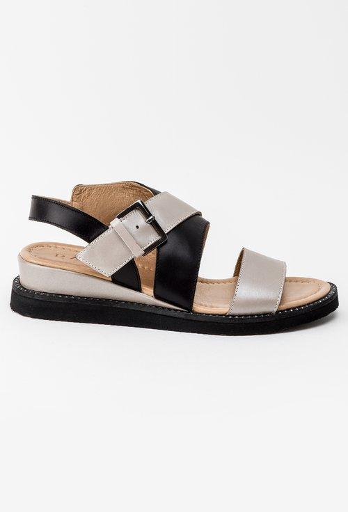 Sandale negre cu barete bej din piele naturala Mona