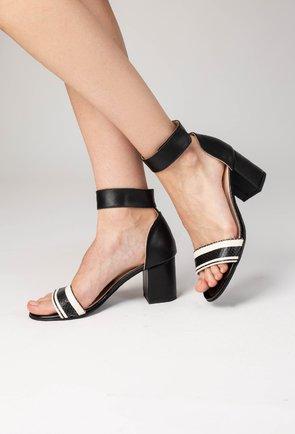Sandale negre cu dungi albe din piele naturala Grey