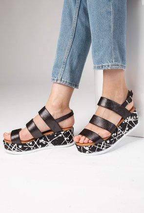 Sandale negre cu inseratii sclipitoare din piele naturala Petro