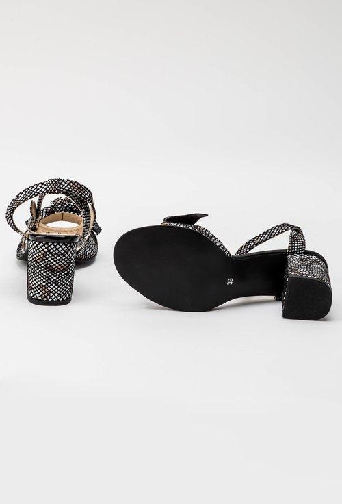 Sandale negre cu picatele din piele naturala intoarsa Stacy