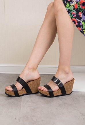 Sandale negre cu platforma din piele naturala Irin