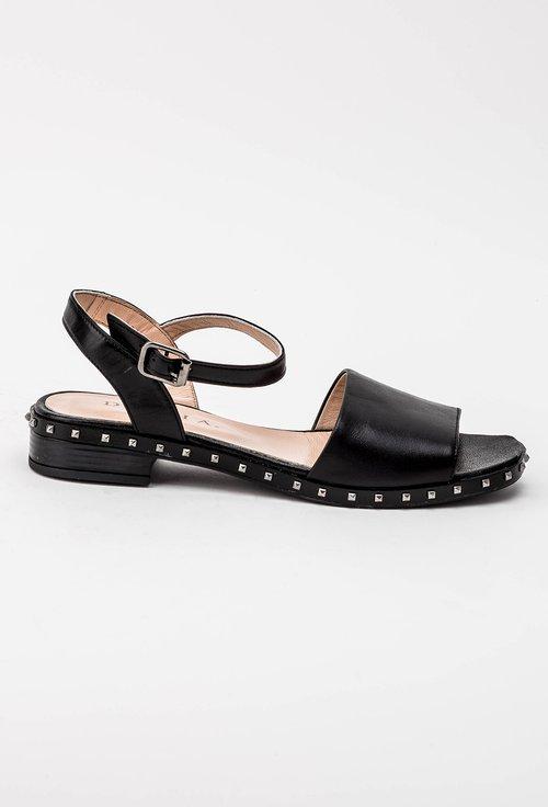 Sandale negre cu tinte din piele naturala Mila