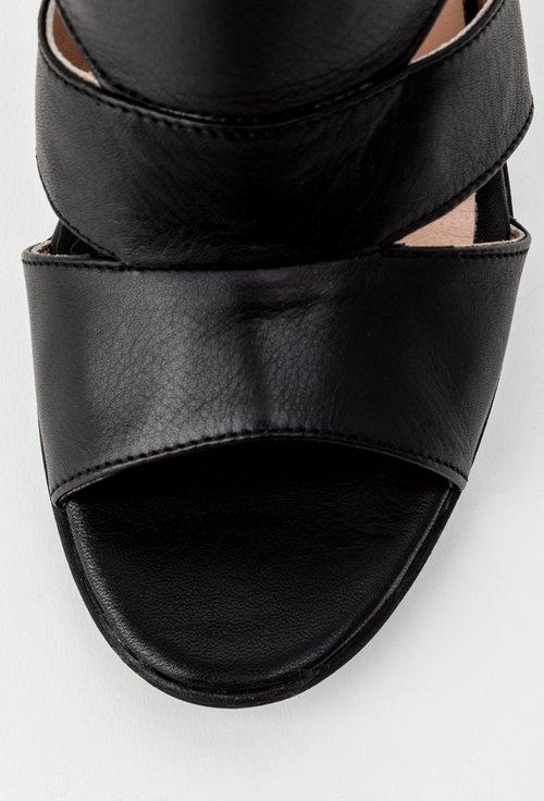 Sandale negre cu toc din piele naturala Irina